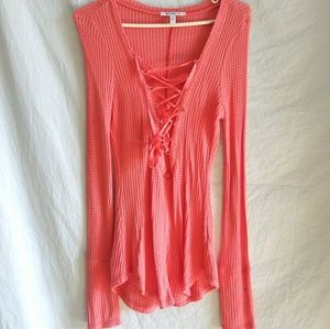 William Rast ribbon tie up peach long sleeve top S